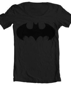 T-Shirt col large Batman Inked Logo de couleur Noir