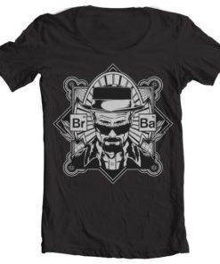 T-Shirt col large Br-Ba Heisenberg de couleur Noir
