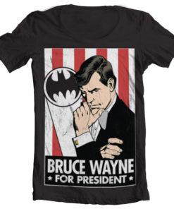 T-Shirt col large Bruce Wayne For President de couleur Noir