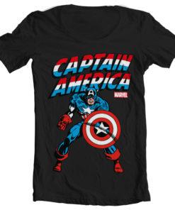 T-Shirt col large Captain America de couleur Noir