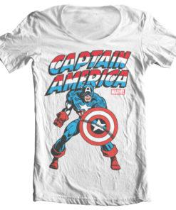 T-Shirt col large Captain America de couleur Blanc