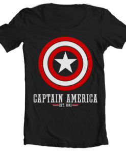 T-Shirt col large Captain America Logo de couleur Noir