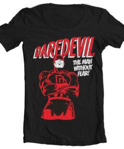 T-Shirt col large Daredevil de couleur Noir