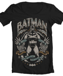 T-Shirt col large Dark Knight Crusader de couleur Noir