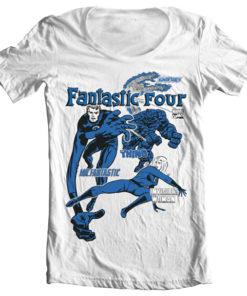 T-Shirt col large Fantastic Four de couleur Blanc