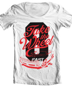 T-Shirt col large Fast 8 - Take The Wheel de couleur Blanc