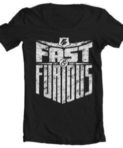 T-Shirt col large Fast & Furious - Est. 2007 de couleur Noir