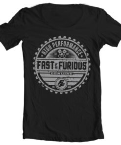 T-Shirt col large Fast & The Furious Genuine Brand de couleur Noir