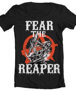 T-Shirt col large Fear The Reaper de couleur Noir