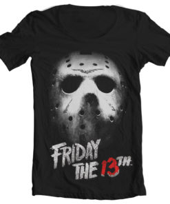 T-Shirt col large Friday The 13th de couleur Noir