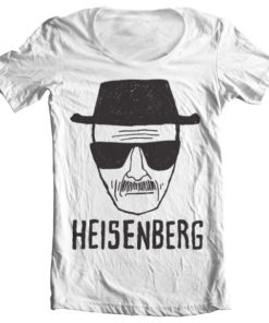 T-Shirt col large Heisenberg Sketch de couleur Blanc
