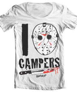 T-Shirt col large I Jason Campers de couleur Blanc