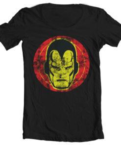 T-Shirt col large Iron Man Icon de couleur Noir
