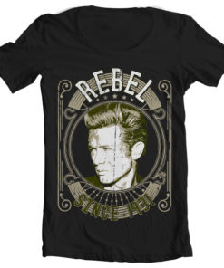 T-Shirt col large James Dean - Rebel Since 1931 de couleur Noir