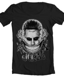 T-Shirt col large Joker - Damaged de couleur Noir