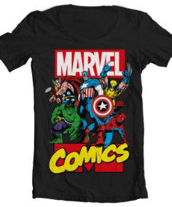T-Shirt col large Marvel Comics Heroes de couleur Noir