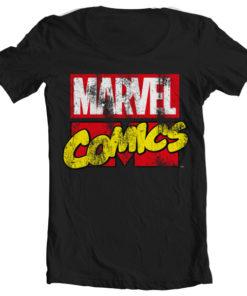 T-Shirt col large Marvel Comics Retro Logo de couleur Noir