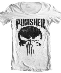 T-Shirt col large Marvel's The Punisher Big Skull de couleur Blanc