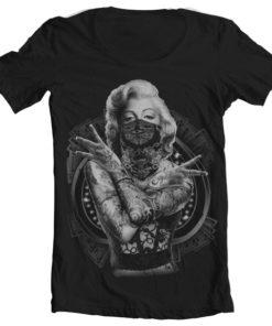 T-Shirt col large Monroe Outlaw de couleur Noir