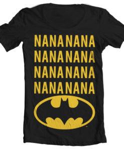 T-Shirt col large NaNa Batman de couleur Noir