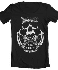 T-Shirt col large SOA 1967 Skull de couleur Noir