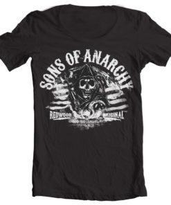 T-Shirt col large SOA B/W Flag de couleur Noir