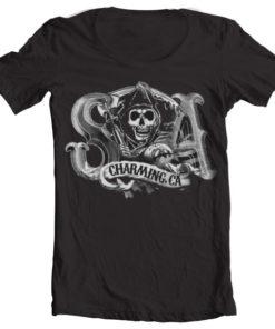 T-Shirt col large SOA Charming Reaper de couleur Noir