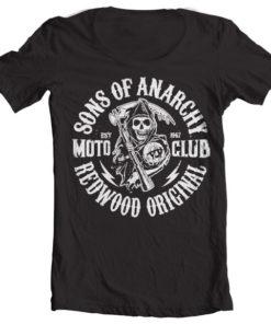 T-Shirt col large SOA Moto Club de couleur Noir