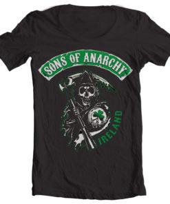 T-Shirt col large Sons Of Anarchy Ireland de couleur Noir