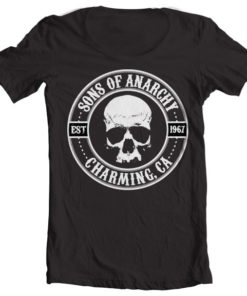 T-Shirt col large Sons Of Anarchy Seal de couleur Noir