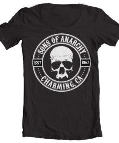 T-Shirt col large Sons Of Anarchy Seal de couleur Noir