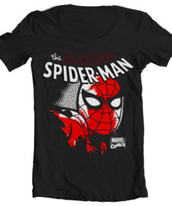 T-Shirt col large Spider-Man Close Up de couleur Noir