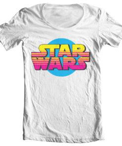 T-Shirt col large Star Wars Retro Logo de couleur Blanc