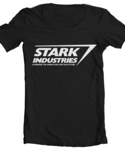 T-Shirt col large Stark Industries Logo de couleur Noir