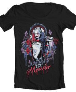 T-Shirt col large Suicide Squad Harley Quinn de couleur Noir