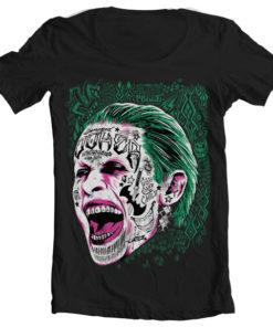 T-Shirt col large Suicide Squad Joker de couleur Noir