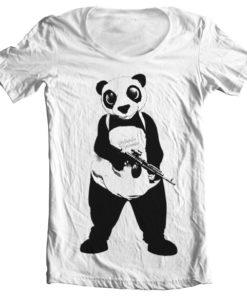 T-Shirt col large Suicide Squad Panda de couleur Blanc