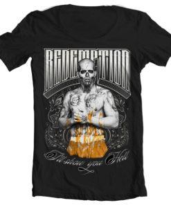 T-Shirt col large Suicide Squad Redemption de couleur Noir