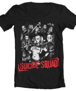 T-Shirt col large Suicide Squad de couleur Noir