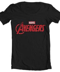 T-Shirt col large The Avengers Logo de couleur Noir