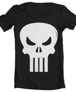 T-Shirt col large The Punisher Skull Wide Neck de couleur Noir