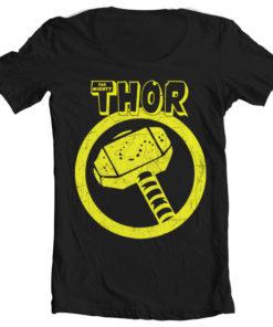 T-Shirt col large Thor Hammer Wide Neck de couleur Noir