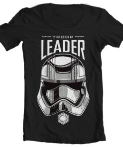 T-Shirt col large Troop Leader de couleur Noir