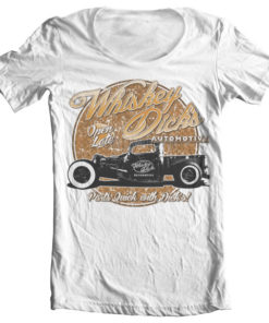 T-Shirt col large Whisky Dick's Auto Parts de couleur Blanc