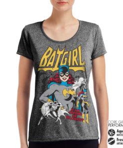 T-Shirt de sport Batgirl - Hero Or Villain pour femme de couleur Gris Noir Chiné