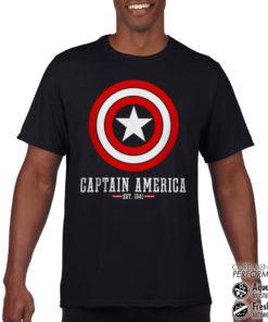 T-Shirt de sport Captain America Logo anti-transpi pour homme de couleur Noir