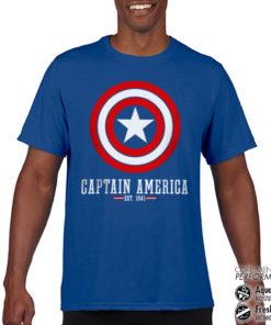 T-Shirt de sport Captain America Logo anti-transpi pour homme de couleur Bleu