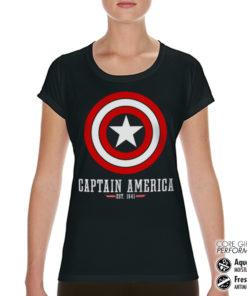 T-Shirt de sport Captain America Logo pour femme de couleur Noir