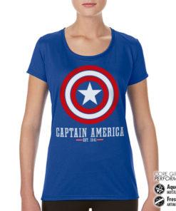 T-Shirt de sport Captain America Logo pour femme de couleur Bleu