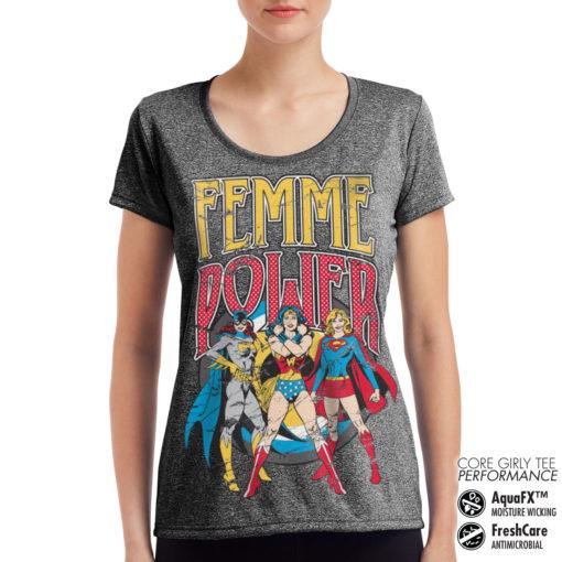 T-Shirt de sport Femme Power pour femme de couleur Gris Noir Chiné
